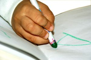 child hand drawing